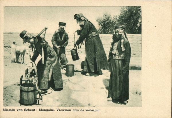 mongolia, Native Women at the Well (1920s) Mission