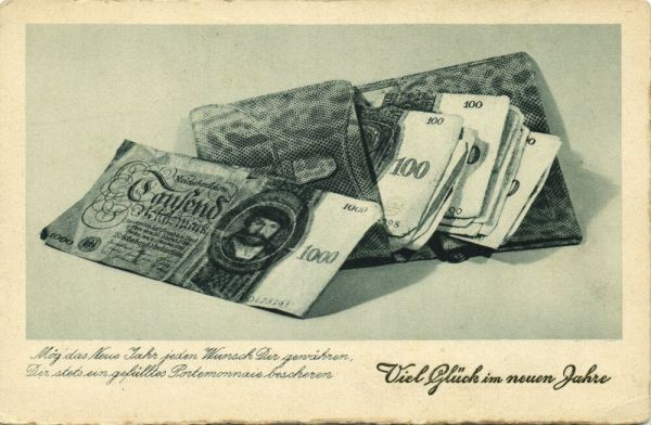 germany, Money Postcard, Mark Reichsbanknote BANKNOTES (1930s) Happy Birthday