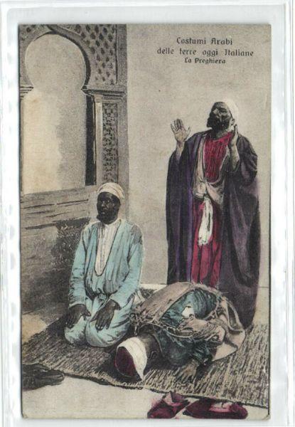 Bendav Postcards - Libya, Arab Costumes, Praying Muslims 1923 Stamp - Powered By -9814