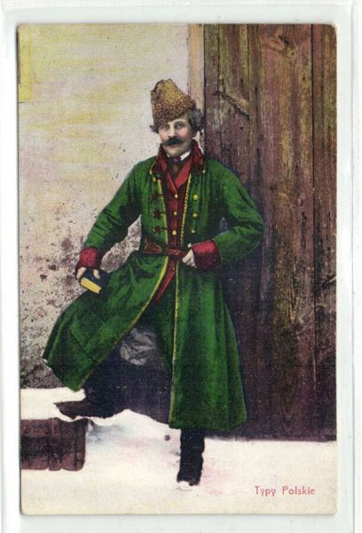 poland, Typy Polskie, Man with Book in Traditional Costumes (1910s) Postcard