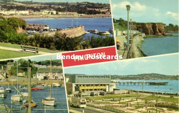 devon, PAIGNTON, Multiview, Promenade, Harbour, Festival Hall with Minigolf (1970s)