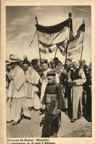 mongolia china, The Procession of August 15 at Balgaso (1930s) Mission