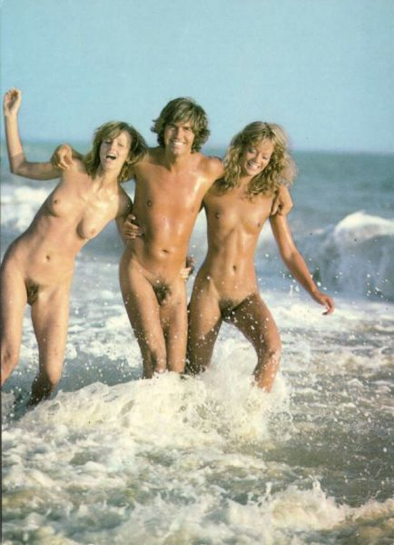 NUDE Young Man with two NUDE Girls in the Sea (1960s)