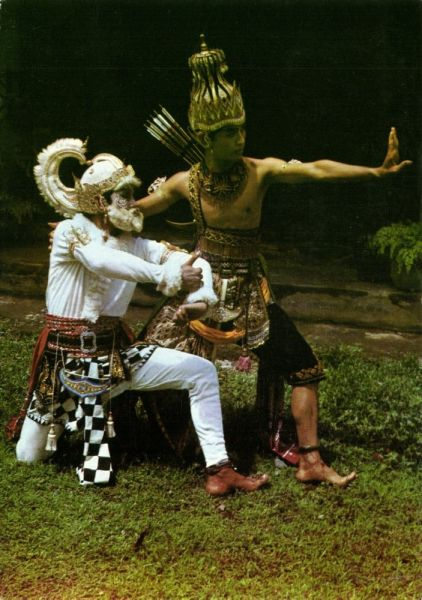 indonesia, JAVA, Wajang Wayang Orang Dancing, Hanoman and Rama from the Ramayana Epic (1989)