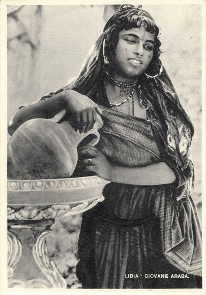 libya, Young Arab Woman with Pottery, Facial Tattoo, Jewelry Necklace (1930s)