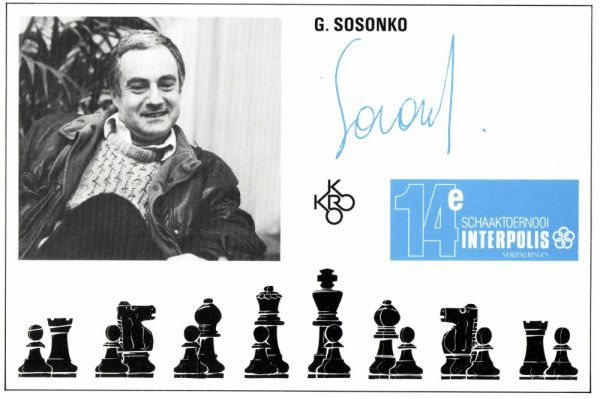 Set of 9 Postcards 14th Interpolis Chess Tournament 1990: Sosonko, Gelfand, Ivanchuk, Timman, Kamsky, Seirawan, Andersson, Short, Nikolic