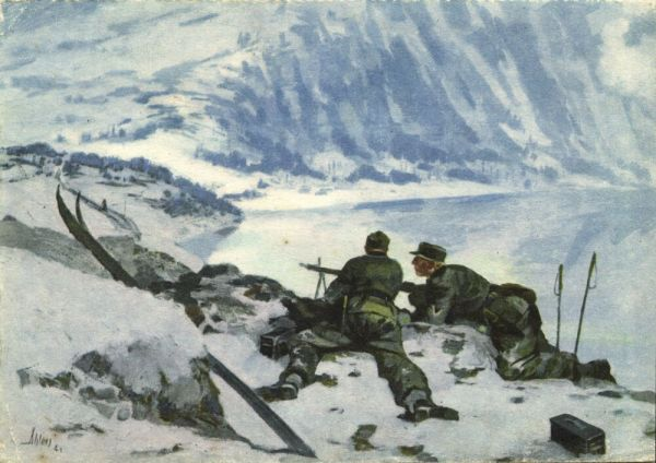 norway norge, NARVIK, Gebirgsjäger, German Mountain Troops, Light Infantry (1941) WWII, Artist Signed Ahlers