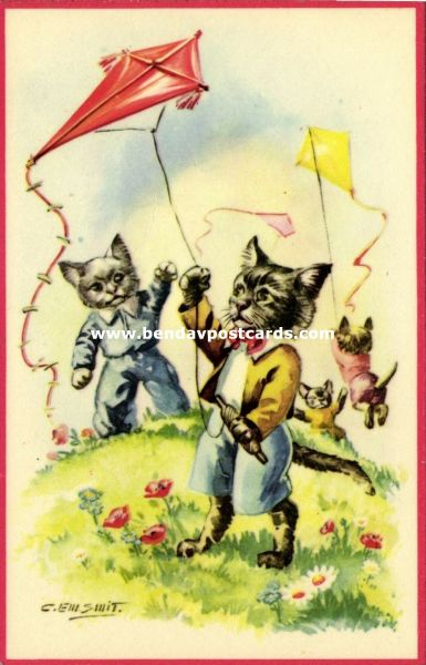 Dressed Cats playing with Kite (1950s) Artist Signed C. Em. Smit