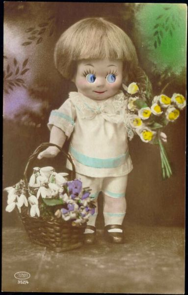 Dressed Porcelain DOLL Puppet, Baby Girl with Glass Eyes (1920s) RPPC