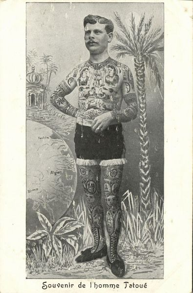 Circus FREAK, Man with Full Body TATTOO (1899) Postcard