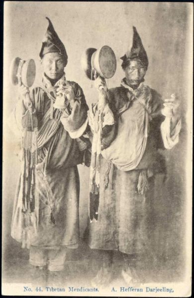 tibet thibet, Native Tibetan Mendicants with Drum and Bell (1920s)