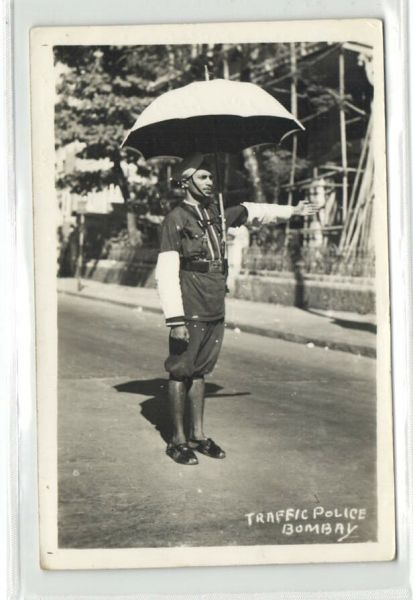 india, BOMBAY, Native Traffic Policeman Police (1959) RPPC Stamps