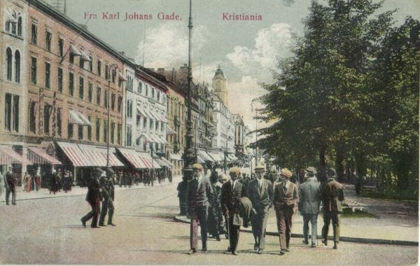 norway norge, KRISTIANIA, Fra Karl Johans Gade (1925) Postcard