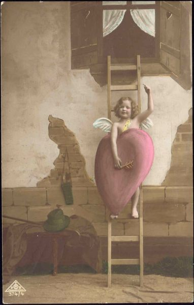 Young Boy Angel with large Heart Tinted RPPC (1915)