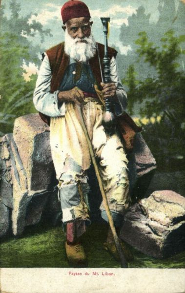 lebanon, Mt. LIBAN, Old Peasant with Waterpipe (1910s) Postcard