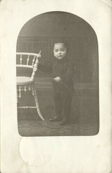 Young Cute Boy with Hoop, Toys (1910) RPPC