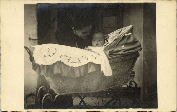 Mother with Young Baby in Perambulator, Pram (1920s) RPPC