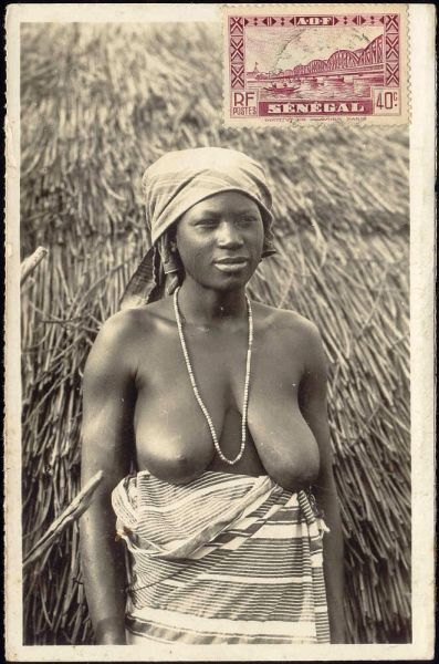 senegal, NUDE Black Woman Necklace, Large Breasts (1950s) RPPC Stamp