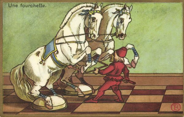 Comic Dutch CHESS Postcard, Fork, Double Attack (1920s)