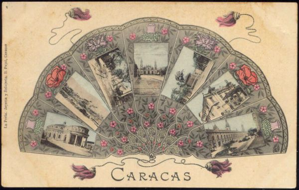 venezuela, CARACAS, Fan with Small Town Views (1910s)
