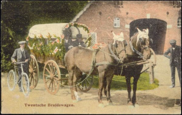 netherlands, Twentsche Bruidswagen, Wedding Horse Cart, Bike (1919)