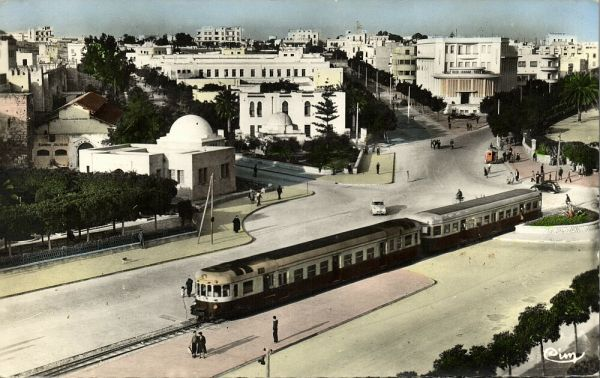 tunisia, SOUSSE, , Place Farhat Hached, Tram Train (1950s) Tinted RPPC
