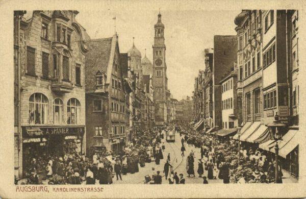 bendav postcards germany augsburg karolinenstrasse shops tram 1910s powered by cubecart. Black Bedroom Furniture Sets. Home Design Ideas