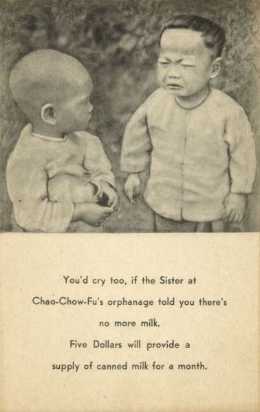 china, No more Milk at Chao-Chow-Fu's Orphanage (1920s) Mission