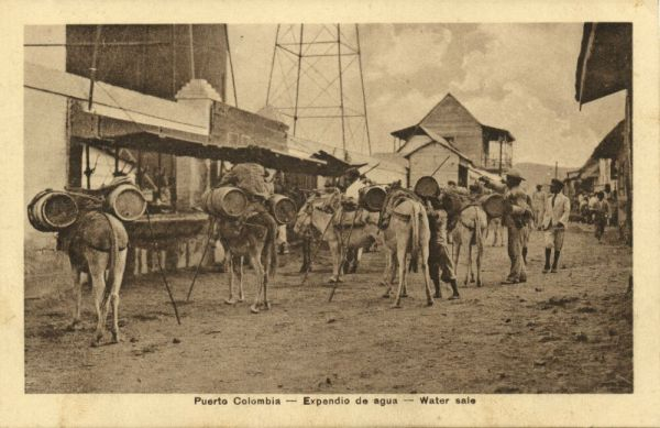 colombia, PUERTO COLOMBIA, Expendio de Agua, Water Sale, Donkey (1910s) J. Isaza A. Editor