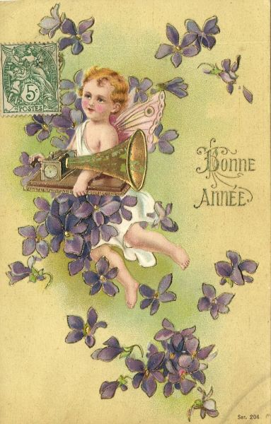 New Year Angel with Phonograph Gramophone, Bonne Année (1910s) Embossed