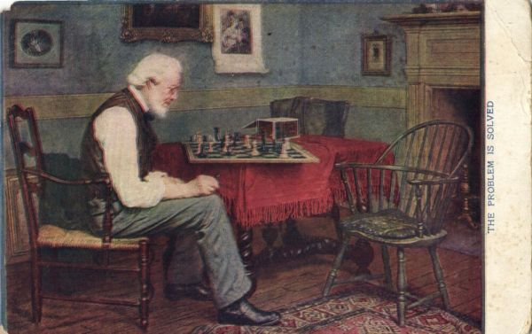 CHESS, The Problem is Solved (1910s) Postcard