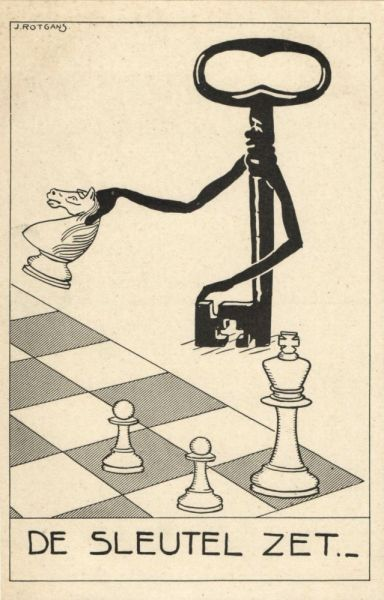 Comic Dutch CHESS Postcard, Key Move (1930s) Artist Rotgans