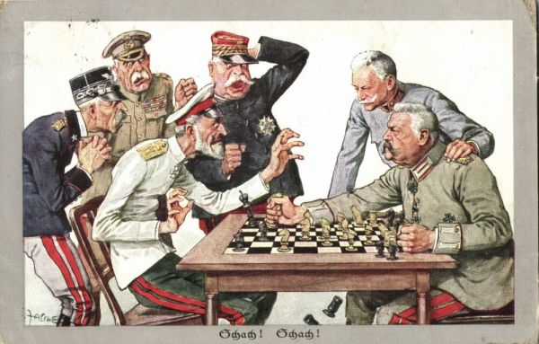 WWI Caricature German Field Marshal Von Hindenburg and Russian Grand Duke Nicholas Nikolaevich Romanov playing Chess (1915)