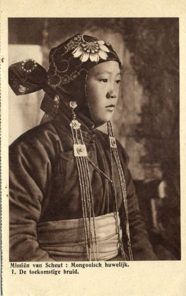 china, Mongolian Wedding, The Bride (1920s) Mission Van Scheut (Dutch Text)