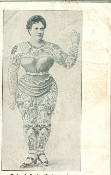 Circus FREAK, Lady Amalie de Roumanie, Full Body TATTOO (1910s)